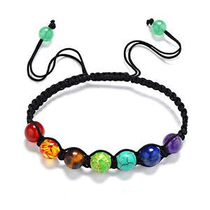 Lovely 7 Chakra Bead Braided Rope Bracelet, Adjustable & Velvet Style Gift Bag