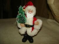 ADORABLE SANTA CLAUS WITH MOLDED BODY & PLUSH FABRIC SUIT CHRISTMAS ORNAMENT