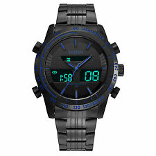 OHSEN Mens Sport Black Steel Analog Digital Alarm Date/Day Military Quartz Watch