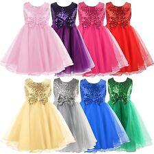 UK Kids Baby Flower Girls Party Sequin Dress Wedding Bridesmaid Bowknot Princess