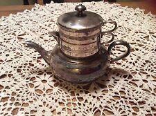 Vintage Quadruple Plate Apollo Silver Co Tea Pot,creamer & Sugar Bowl Stacker