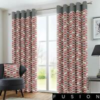 "Fusion ""Copeland"" Geometric 100% Cotton Fully Lined Eyelet Curtains Red"