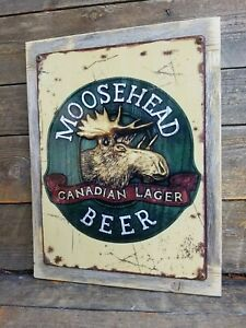 Moosehead Beer Vintage Ad Reproduction Metal Sign Reclaimed Wood Frame