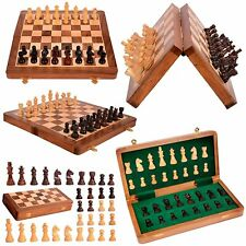 Wooden Magnetic Chess Board Hand Carved Chess Pieces Travel 12 inch Magnet Set