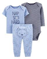 Carters Infant Boy's Blue Nap So Hard Bear T-Shirt & Pants 3 Piece Outfit Set