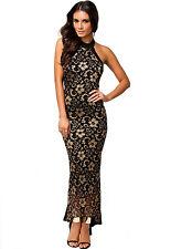 Gorgeous Mermaid Halter O Neck Long Lace Evening Dress Black Medium