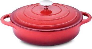 Velaze Cast Iron Casserole Dish Red Non Stick Oval Enamel Dutch Oven Pan 3.5L
