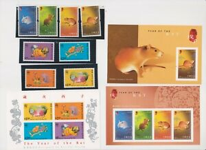 """HONG KONG, 1996-2008, """"YEAR OF RAT"""" 3 S/S (1 OF $5) AND 2 STAMP SETS MINT NH"""
