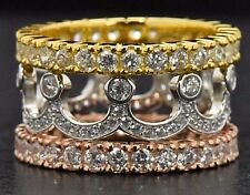 Sterling Silver Pink Yellow Gold Sim Diamond Deco Wide Eternity Ring Set Size 6