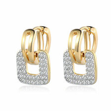 Vintage Retro Yellow Gold Filled Square Plate Diamond Hoop Women Wedding Earring