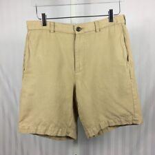 Brooks Brothers Mens Flat Front Shorts Linen Blend Khaki Tan Size 32
