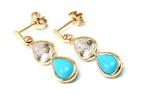 9ct Gold Turquoise and CZ Teardrop Earrings Made in UK Gift Boxed