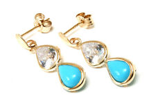 9ct Gold Turquoise and CZ Teardrop Earrings Made in UK Gift Boxed Xmas Christmas