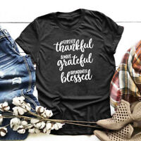 Forever Thankful Grateful Blessed T-Shirt Women tees Thanksgiving tshirt t shirt
