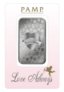 1 oz Pamp Suisse LOVE ALWAYS .999 Fine Silver Bar Classic Design In Assay
