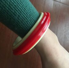 Red Cream Celluloid Vintage 40s 50s 60s Bracelet Pinup Bangle