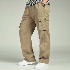 Men's Cotton Casual Trousers Loose Fit Pockets Cargo Work Summer Pants Plus Size