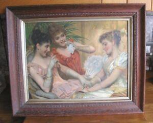 Beautiful Antique Victorian Lithograph Print Ladies Admiring Ring Oak Framed