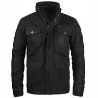 Solid Lash Men's Leather Jacket Biker Jacket With Funnel Neck Genuine Leather