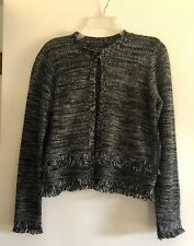 New Tahari Open Front Cardigan Black/White Weave Knit w Fringe. Cropped - S  NWT