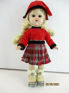 """7 1/2"""" Vintage Vogue Ginny Doll SLW About 1955 Molded lashes walker with skates"""