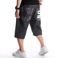 Mens Hip-Hop Black Shorts Jeans Denim Capri Pants Relaxed  Baggy Loose W30-W46
