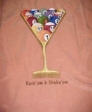 Rack' em & Shake' em Pool Eight Nine Ball Men's Peach Polyester Camp Shirt M