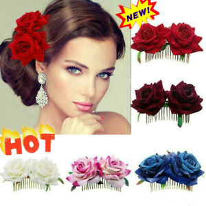 Bridal Boho Rose Flower Hair Comb Clip Hairpin Wedding Party Accessories Ha