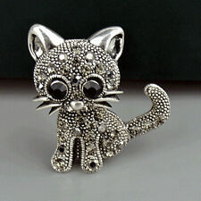 Crystal Rhinestone Cute Cat Flower Retro Brooches Fashion Style
