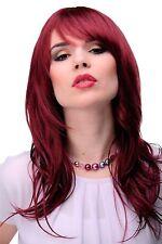 Peluca de Mujer Largo Roja Rojo Granate Flequillo Raya Peinable Escalonado