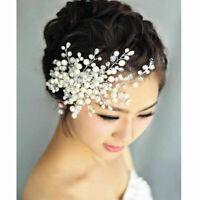 Delicate Bridal Crystal Pearl&Rhinestone Headpiece Hair P5D5 Comb Wedding C O9R9