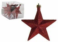 6 Paquet 10cm Rouge Paillette Suspendu Étoile Décoration Sapin de Noël Boule