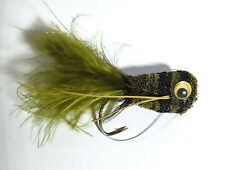 1x Mouche peche HAIR BUG OLIVE H2/4/6 saltwater hair bass bar fishing