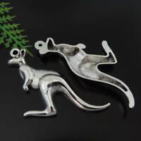 1 Lot (x12) Vintage Silver Metal Kangaroo Charm Pendant DIY Jewelry 46x30 MM