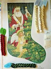 Handpainted Needlepoint Canvas , Christmas Stocking ,Liz , with some threads .