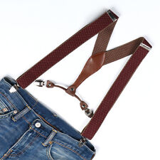 Men Women Unisex Grey Brown Lozenge Adjustable Clip-on Suspenders Braces BD629