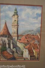 SPANISH MONASTERY WITH CHURCH SPIRE ON BACKGROUD--Exquisite detailed watercolor