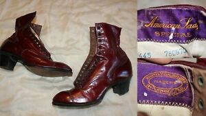 Antique Victorian BURGUNDY Leather High Top Laced Boots-ShoesAMERICAN LADY S
