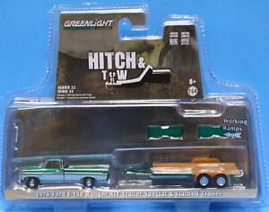 GREENLIGHT 1/64 HITCH & TOW SERIES 32220-B 1976 Ford F-150 Ranger Trailer CHASE