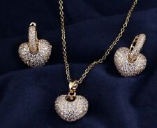 14k Gold 3D Heart Necklace Earrings Set made w Swarovski Crystal Pave Stone