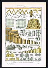 1922 Metric System Weights, Measurement Units, Coins - Antique Larousse Print