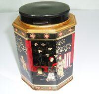 Vtg Back Street Feminine Attire Oriental Canister Metal Octagon Tin Storage