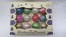 Box SHINY BRITE 12 Mini Feather Tree Wire Mesh Wrap Glass Christmas Ornaments