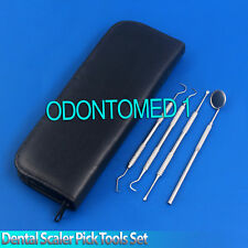 Dental Scaler Pick Tools Set with Inspection Mirror Stainless Steel 4 Pieces
