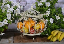 Panier Corbeille Fruits Cuisine Vintage Shabby Chic Blanc Metal Fer Forge Ancien