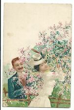Early Litho Romantic Postcard, Unposted, Couple in Picking Flower Blossom, U/B