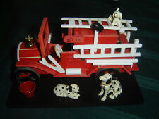 Vintage Wooden Music Box Fire Truck Engine With Dalmatians, Ladder Movement Nib