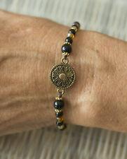 Bracelet ethnique Chakra Perles noires et laiton Fait main 21187