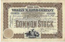 Pennsylvania 1916 William M Lloyd Co Stock Certificate #89 Lumber Philadelphia