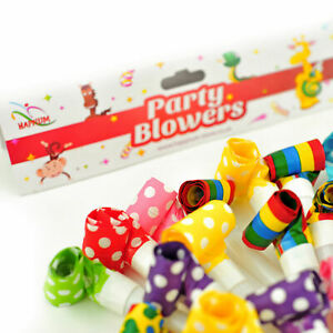 50 Multicoloured Dotted/Striped Party Blowers Foil Blowouts Noisy Toy Horns